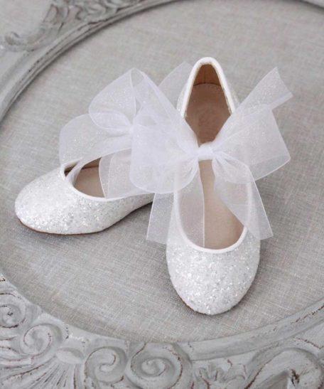 Witte gitter ballerina's voor meisjes