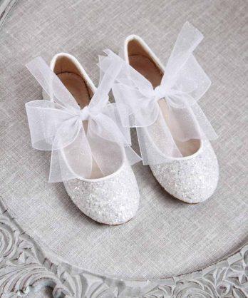 Glitter schoentjes voor meisjes met chiffon strik – Wit