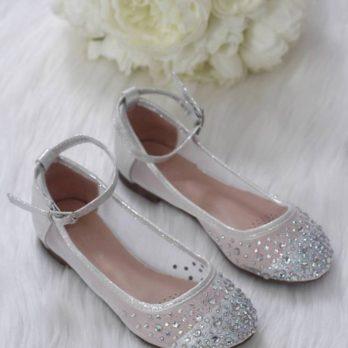 Ballerina's met strass steentjes – Zilver