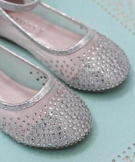 Zilveren meisjes schoenen met strass glitters