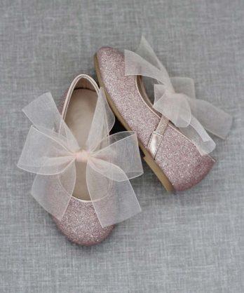Glitter schoentjes voor meisjes met chiffon strik – Rosé goud