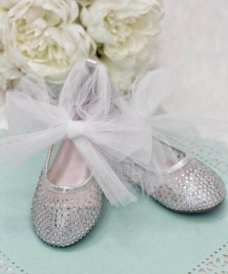 zilveren ballerina's strass steentjes