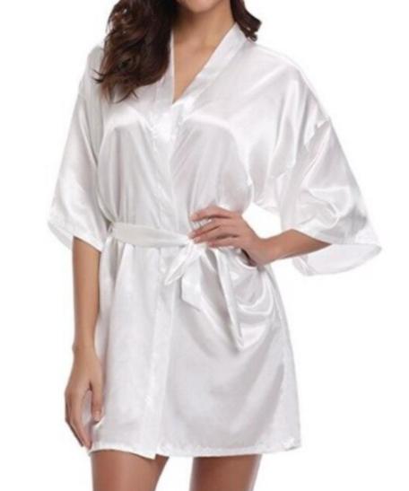 Satijnen badjas kimonoo badjas satijn dames vrouwen