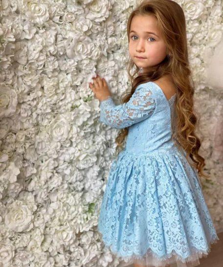 Exclusieve kinderkleding lichtblauwe jurk voor meisjes voor feest feestelijke jurk