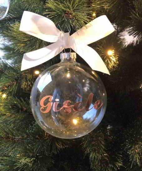 Glazen kerstbal met naam rosé goud online bestellen