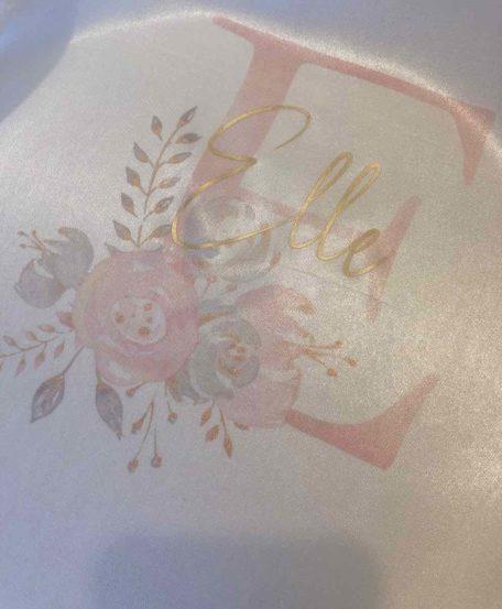 Badjas met naam en bloemen