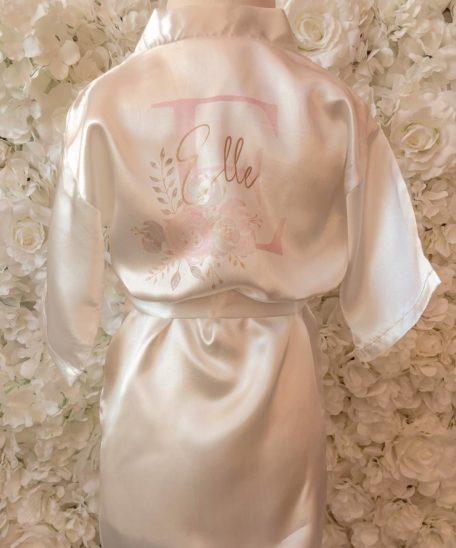 Badjasje met naam voor meisjes wit roze