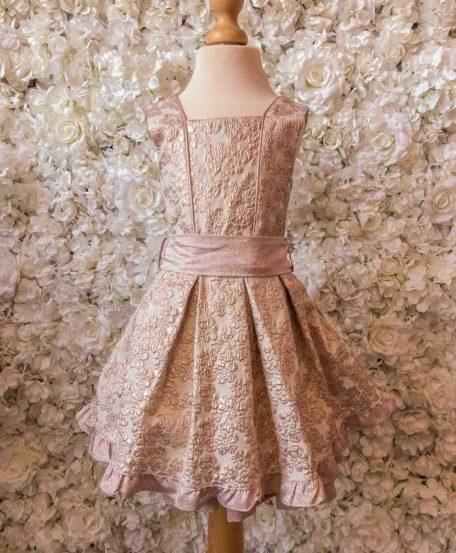 Jurk met roze bloemen en glitter meisjes