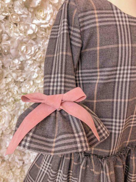 Kinderjurk meisjes geruit grijs oudroze strikken exclusieve kinderkleding