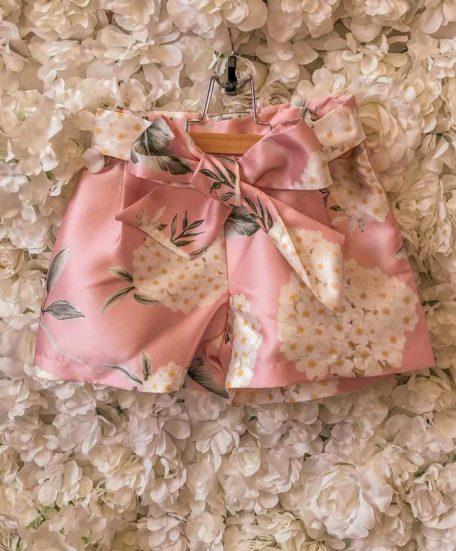 Kort broekje meisjes roze bloemen