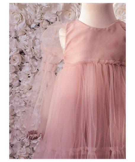 Oudroze tule jurk meisjes exclusieve kinderkleding Louella 2