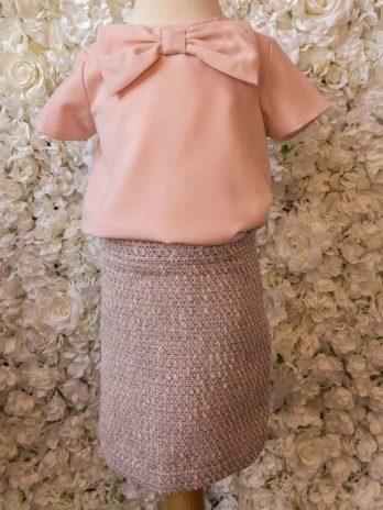 Recht rokje – roze tweed