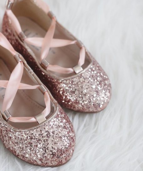 Ballerina schoenen roze glitter voor meisjes