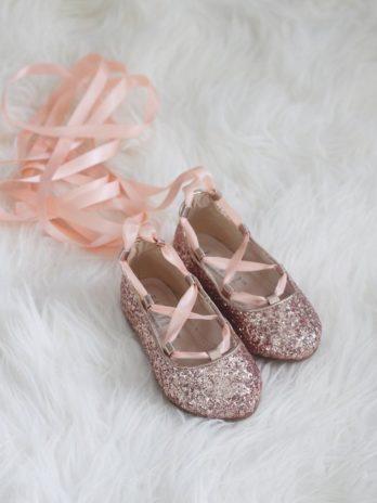 Glitter ballerina's met satijn lint – Rosé goud