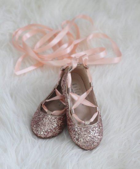 Meisjes schoenen roze glitters