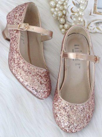 Glitter schoenen voor meisjes met hakje – Rosé goud