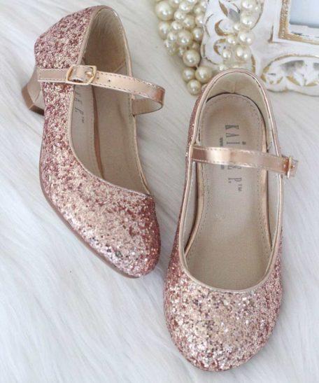 Roze glitter schoenen met hak voor meisjes