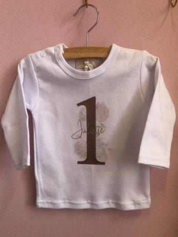 Verjaardag T-shirt meisjes – Cijfer en bloemen