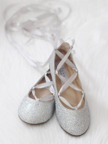 Glitter ballerina's met satijn lint – Zilver