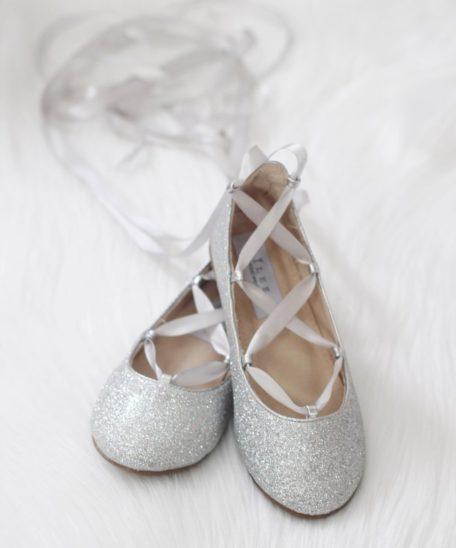 Zilveren ballerina voor meisjes met glitters