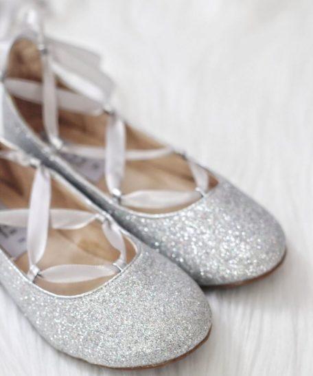 Zilveren platte schoenen voor meisjes met glitters