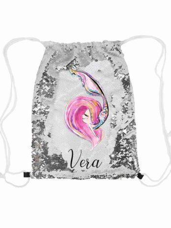 Magische pailletten rugzak zilver met naam – Zeemeermin roze haar