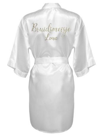 Kimono met naam voor bruidsmeisjes – dames – gouden glitter tekst