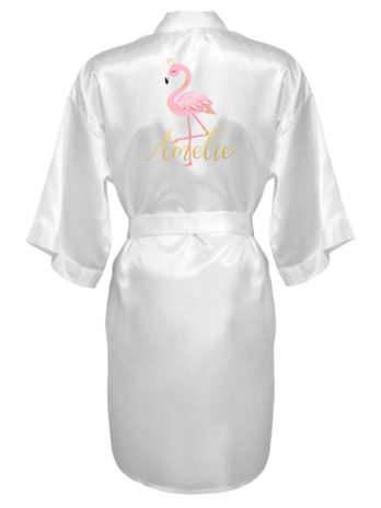 Meisjes kimono met naam en flamingo