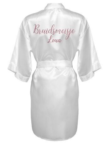 Kimono met naam voor bruidsmeisjes – dames – rosé gouden glitter tekst