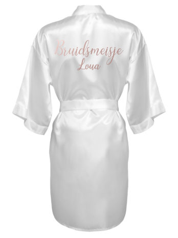 Kimono met naam voor bruidsmeisjes – dames – rosé gouden tekst