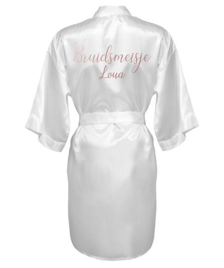 Kimono bruidsmeisje met naam rosé goud