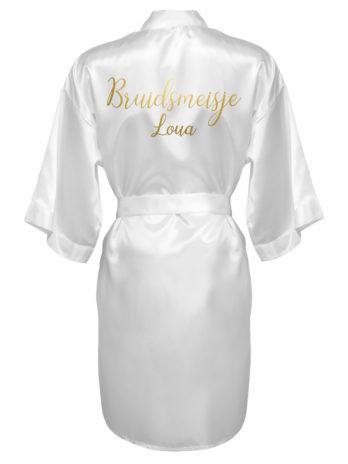 Kimono met naam voor bruidsmeisjes – dames – gouden tekst