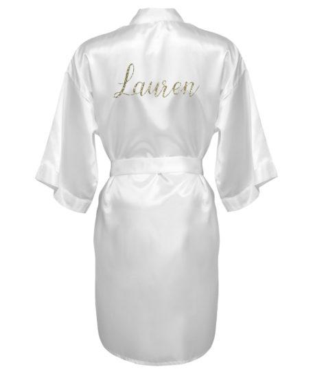 Kimono met naam wit goud