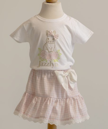 Roze geruit rokje kinderen meisjes paas T-shirt met naam