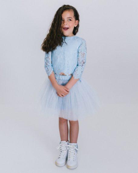 Lichtblauwe tule rok voor meisjes