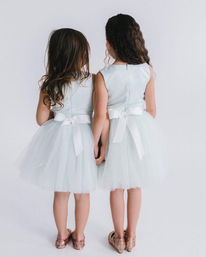 Mint jurk strik achterkant meisjes kind