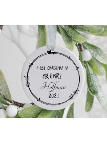 Kersthanger – First Christmas as Mr. & Mrs. met achternaam