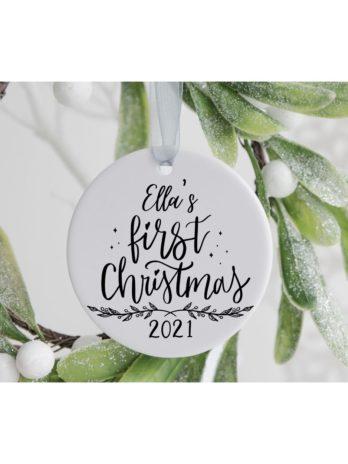 Kersthanger met naam – Baby's first Christmas