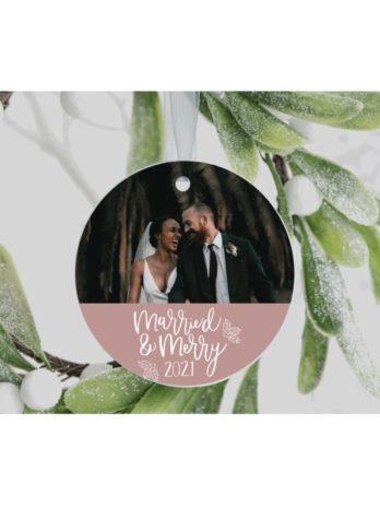 Kersthanger met foto – Married & Merry