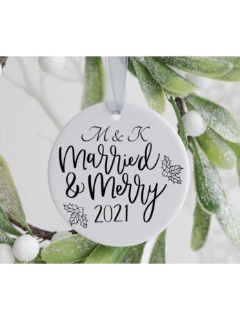 Kersthanger met naam – Married & Merry