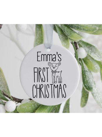 Kersthanger met naam en hert – Baby's first Christmas
