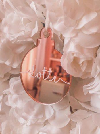 Kersthanger met naam ⭐ plexiglas rosé goud