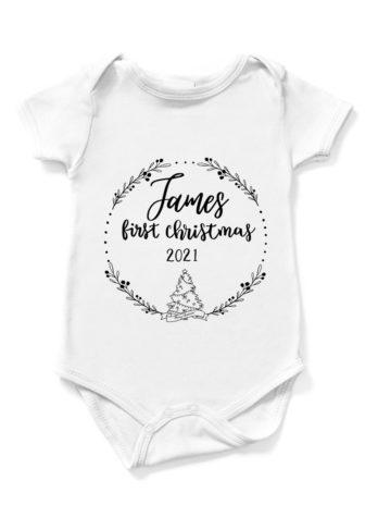 Romper met naam – Eerste kerst met kerstboom